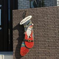 インテリア&ガーデニング雑貨 クリスマス 木製ソックスモチーフ壁掛け サンタクロース 飾り