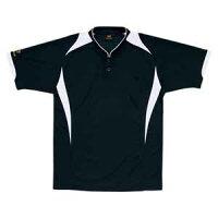 Z-BOT830-1911-M ゼット 野球・ソフトボール用 ベースボールシャツ ブラック/ホワイト M ZETTプロステイタス 立衿2ボタンタイプ ZBOT8301911M