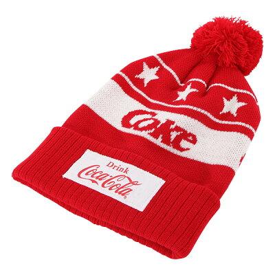 Coca-Cola コカ コーラ ボンボン付きニットキャップ Coke レッド