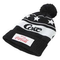 Coca-Cola コカ コーラ ボンボン付きニットキャップ Coke ブラック