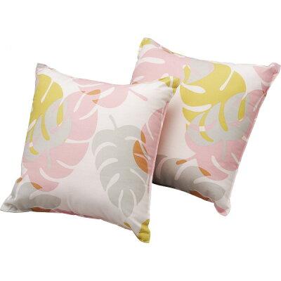 トスクッションモンステラ ピンク 繊維 繊維 クッション FA61633