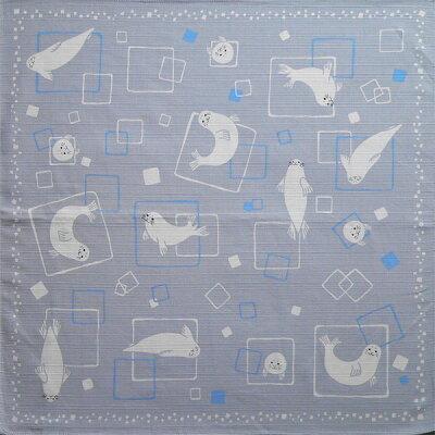 あにまるちーふ 風呂敷 流氷にアザラシ 綿シャンタン小ふろしき 50cm 日本製