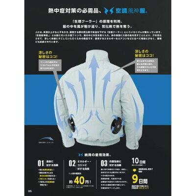 サンエス 空調風神服 長袖ブルゾン KU91400 シルバーM(1枚入)