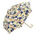 w.p.c (ワールドパーティ) 長傘 手開き 日傘/晴雨兼用傘 フラワー ガーデン オレンジ 7本骨 58cm  木製ハンドル