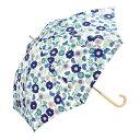 w.p.c (ワールドパーティ) 長傘 手開き 日傘/晴雨兼用傘 フラワー ガーデン ブルー 7本骨 58cm  木製ハンドル