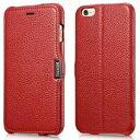 デンノー Litchi Pattern For iPhone 6 Plus Leather Red MIPS-6002RD