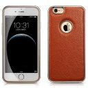 デンノー Litchi For iPhone6 plus Aluminium Frame Genuine Leather Brown Color MIPS-6011BN