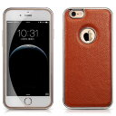 デンノー Litchi For iPhone6 Aluminium Frame Genuine Leather Brown MIP-614BN