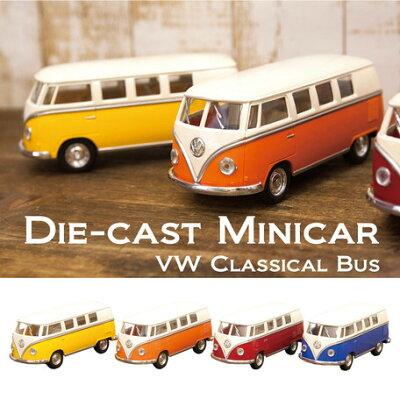 ワーゲンバスのミニカー 1/32サイズ/ /レッド 62年式クラッシックバス