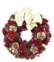 彩か SAIKA リース M 赤 レッド インテリア用 玄関飾り スタンダード ラブリー ゴールドリボン付 CXO-194Mr Ribbon Wreath -Bloom pinecone M Red
