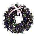 彩か SAIKA リース S 紫 パープル インテリア用 玄関飾り ポップ CXO-201Sp Ribbon Wreath-Twig & Cotton shell S Purple
