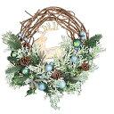 彩か SAIKA リース L 緑 グリーン インテリア用 玄関飾り トナカイ ファニー CXQ-712 Deer w/Peacock Ball Wreath