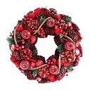 彩か SAIKA リース M 赤 レッド インテリア用 玄関飾り アップル CXO-223M Wreath-Apple & Roll vine M Red