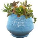 暮らし良い品 植木鉢 ラウンドカーブポット S ブルー 10*10*9cm(1コ入)