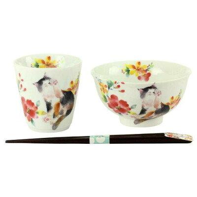 花猫飯碗湯呑レッド