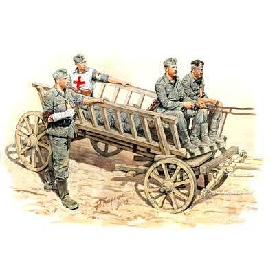 1/35 独歩兵4体+馬車・負傷兵撤退シーン プラモデル 再販 マスターボックス