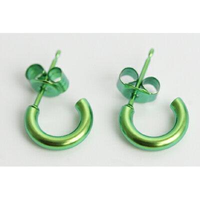 チタンピアス チタン製 モチーフピアス Gリング2×10 フローラルグリーン