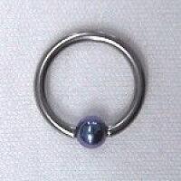 チタンボディピアス ビーズ ブルー q125d