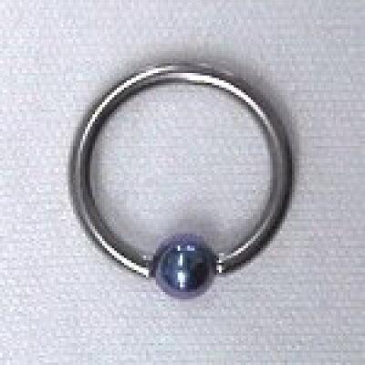 チタンボディピアス ビーズ ブルー q407d