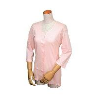婦人イージートゥウェア 七分袖前開きシャツ(マジックテープ式) M・L WL-110/ L ピーチ