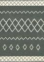 モロッコ調ベニワレン風ラグマット ブラック 100×140cm ロザンジュ -