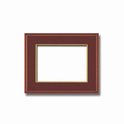 和額赤い縁に金色フレーム 日本額 色紙額 木製フレーム  赤金 色紙F4サイズ333×242mm エンジ