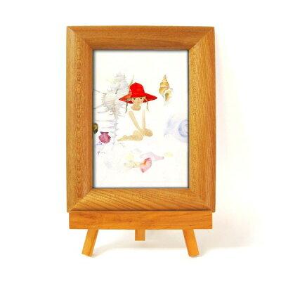 ナチュラルイーゼル付(ちひろ絵はがき一枚入り) 1434740・貝殻と赤い帽子の少女