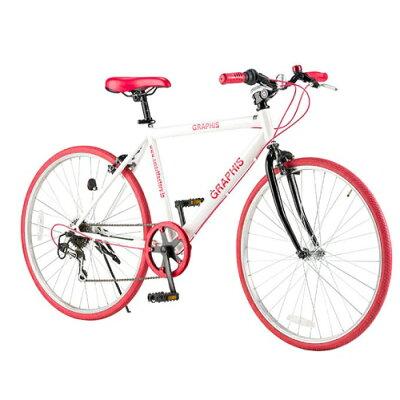 クロスバイク 26インチ GR-001 自転車 シマノ製6段ギア /ホワイト/レッド