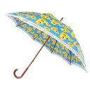 丸安洋傘 日本の職人手作り ひまわり柄 木棒 手開き長傘大判 ブルー CMD165F