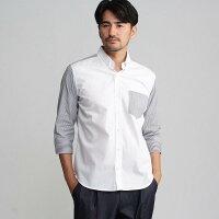 TAKEO KIKUCHI ロンストブロッキング7分袖シャツ ホワイト(001) 04(LL)