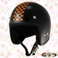 JUQUE ジェットヘルメット プチジュクー チェッカー ヘルメット サイズ:M 51~52cm