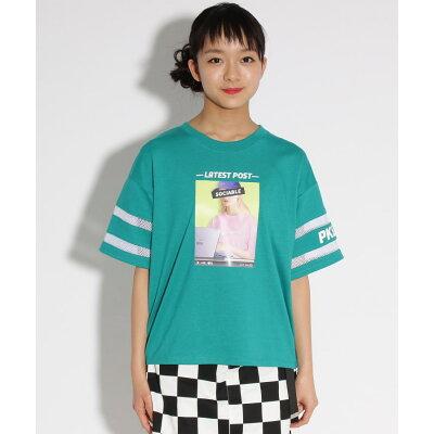 PINK-latte 転写袖すけライン Tシャツ