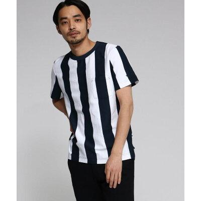 BASE CONTROL Men ベースコントロール メンズYZ 20/2 天竺 ストライプ 半袖 Tシャツ