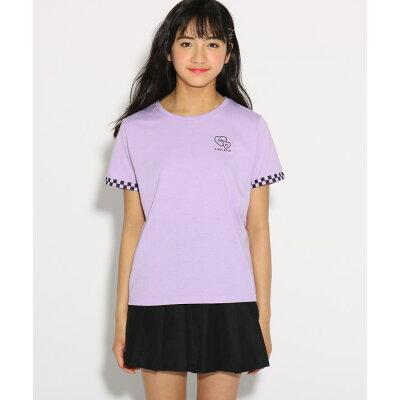 PINK latte 袖チェッカー Tシャツ