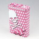 【100ミリ20本用】シガレットケース キャンディー缶 PINK SKULL ドクロ デザイン柄 ブリキ缶
