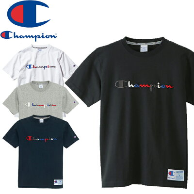 チャンピオン ロゴ刺繍 Tシャツ 白 半袖Tシャツ メンズ CHAMPION LOGO TEE アクションスタイル C3-H371