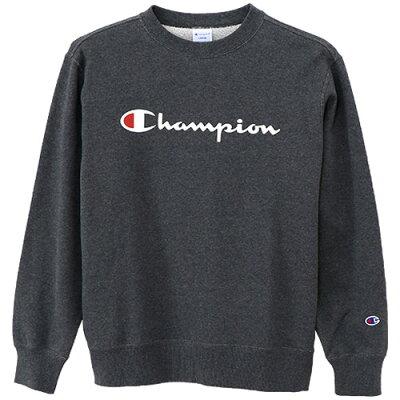 チャンピオン Champion メンズ クルーネックスウェットシャツ 裏毛 ロゴプリント ヘザーチャコール C3-H004 089