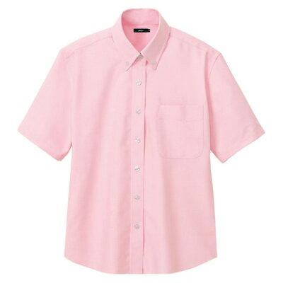 アイトス AITOZ 大きいサイズ 3L レディース半袖オックスボタンダウンシャツ 060/ピンク AZ-7873