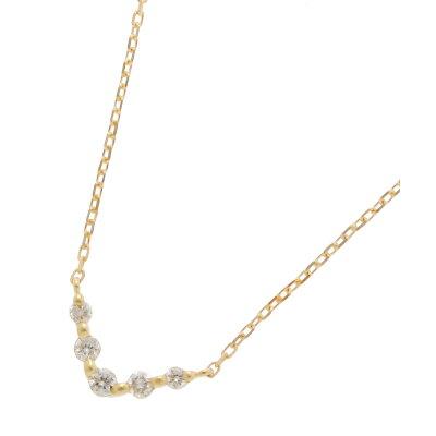 COCOSHNIK K18ダイヤモンド グラデーションV字5石 ネックレス小 イエローゴールド(104) 40
