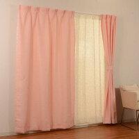 4マイクミカーテン 4Pカンポ PI 100x200cm 4枚組 ピンク 幅100 高200cm