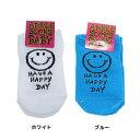 HAVE A HAPPY DAY 赤ちゃん靴下 ベビーアンクルソックス ブルー ホワイト オクタニコーポレーション 10-13cm