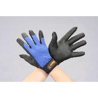 EA353BG-77 L ポリウレタン手袋 黒/青 EA353BG77