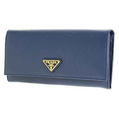 プラダ 二つ折り 長財布 1MH132 S/TRIANG/BLUETTE ブルー サフィアーノ レディース PRADA