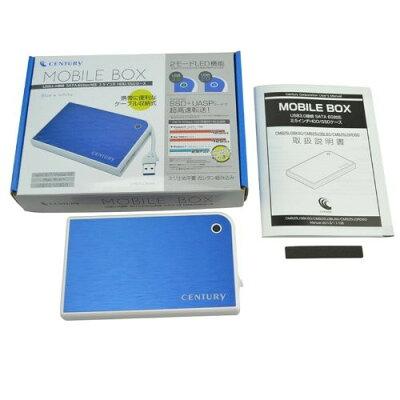 """センチュリー MOBILE BOX USB3.0接続 SATA6G 2.5""""HDD/SSDケース ブルー&ホワイト CMB25U3BL6G"""