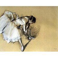 (プリハード 複製画 ドガ 靴下を直す踊り子 F8号 額外寸法(57×64cm) 4290)