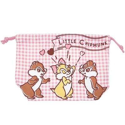 チップ&デール ランチ巾着 マチ付き巾着袋 コミック ディズニー スモールプラネット 18×27×9cm