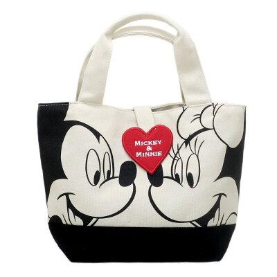 ワッペントートミッキーマウス&ミニーマウス ランチバッグ ディズニー  サブバッグ 手提げかばん