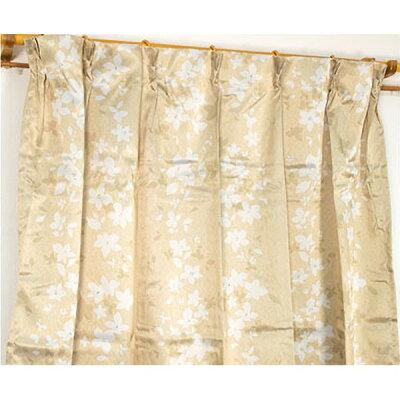 遮光カーテン/サンシェード 2枚組 100cm×135cm ベージュ花柄 洗える タッセル付き アジャスターフック付き エマリー