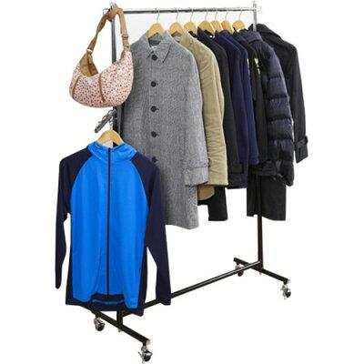 全体耐荷重85kgで衣類をたっぷり収納できる ハンガープロシングル ブラック(1台)