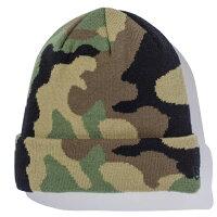 (ニューエラ) / BASIC CUFF KNIT BEANIE CAP woodland camo/black flag